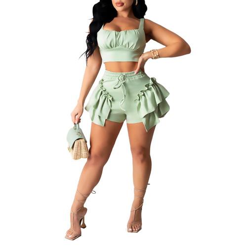 Light Green Crop Top with Shorts Set TQK710330-28