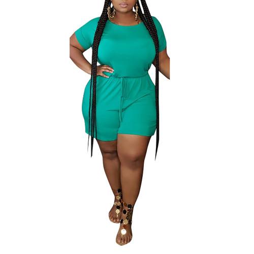 Green Tie Waist Plus Size Romper TQK550238-9