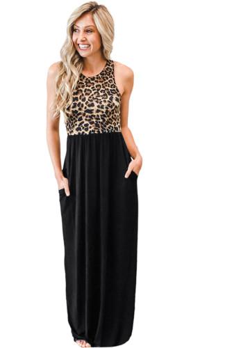 Sleeveless Leopard Bodice Maxi Dress with Pockets LC614541-2
