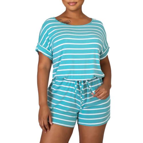 Light Blue Stripes Plus Size Loungewear Set TQK710335-30