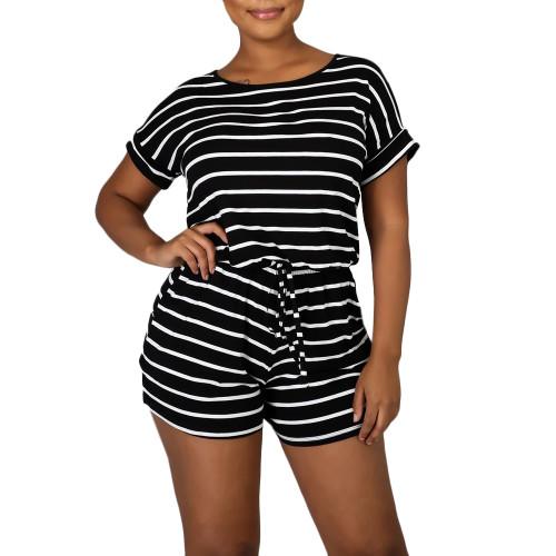 Black Stripes Plus Size Loungewear Set TQK710335-2