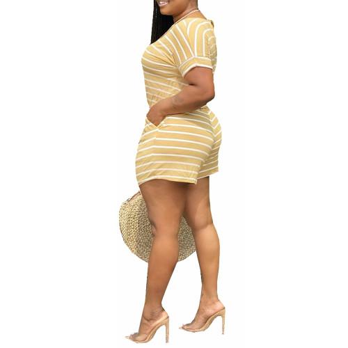 Yellow Stripes Plus Size Loungewear Set TQK710335-7