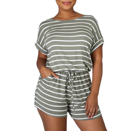 Navy Green Stripes Plus Size Loungewear Set TQK710335-27