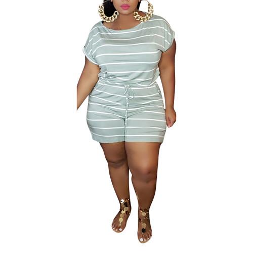 Light Green Stripes Digital Print Plus Size Romper TQK550239-28
