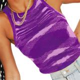 Purple Slim Fit Colorful Tank Sweater TQK250146-8