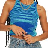 Blue Slim Fit Colorful Tank Sweater TQK250146-5