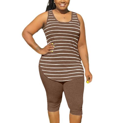 Brown Plus Size Stripes Tank with Shorts Set TQK710320-17