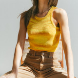 Yellow Slim Fit Colorful Tank Sweater TQK250146-7