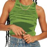 Green Slim Fit Colorful Tank Sweater TQK250146-9