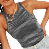 Gray Slim Fit Colorful Tank Sweater TQK250146-11