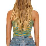 Grass Green Slim Fit Colorful Tank Sweater TQK250146-61