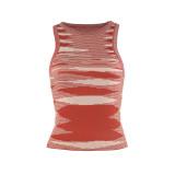 Rust Red Slim Fit Colorful Tank Sweater TQK250146-33