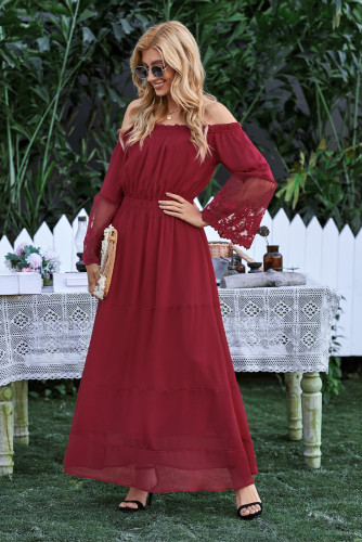 Wine Off Shoulder Embroidered Flared Sleeve Lace Maxi Dress LC611985-3