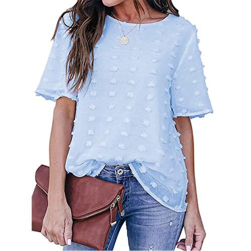 Light Blue Swiss Dot Texture Short Sleeve Top TQK210712-30