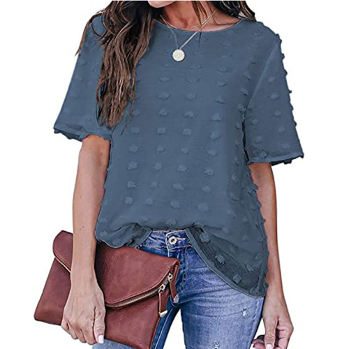 Blue Swiss Dot Texture Short Sleeve Top TQK210712-5