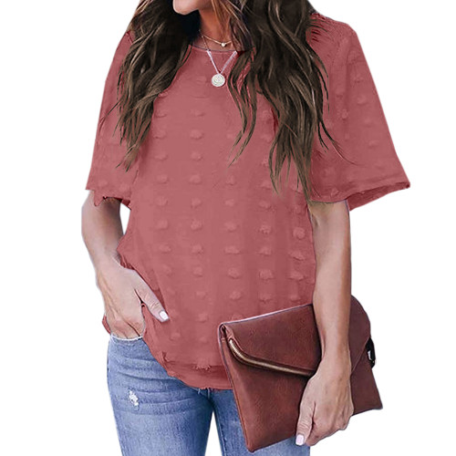 Rust Red Swiss Dot Texture Short Sleeve Top TQK210712-33