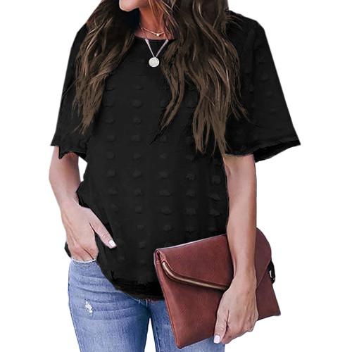 Black Swiss Dot Texture Short Sleeve Top TQK210712-2