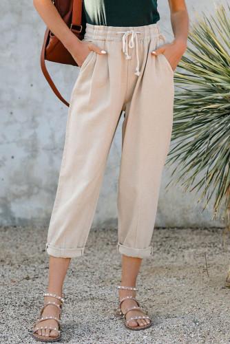 Beige Drawstring Pocketed Straight Leg Denim Pants LC781603-15