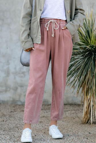 Pink Drawstring Pocketed Straight Leg Denim Pants LC781603-10