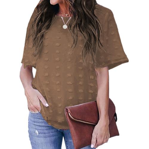 Coffee Swiss Dot Texture Short Sleeve Top TQK210712-15