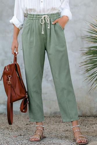 Green Drawstring Pocketed Straight Leg Denim Pants LC781603-9