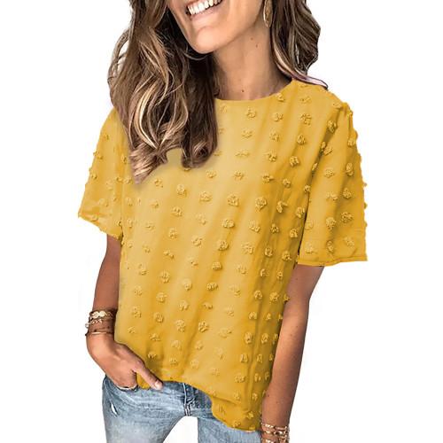 Yellow Swiss Dot Texture Short Sleeve Top TQK210712-7
