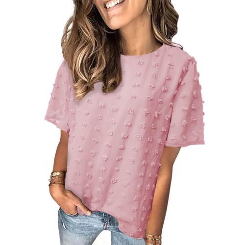 Pink Swiss Dot Texture Short Sleeve Top TQK210712-10