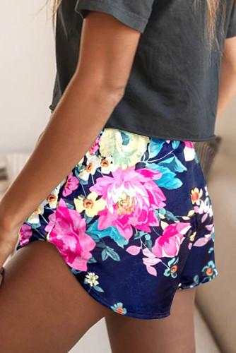 Blue Drawstring Elastic Waist Floral Shorts LC771778-5
