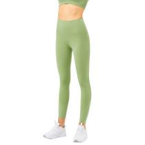 Green High Waist Nylon Sports Yoga Pants TQE740197-9