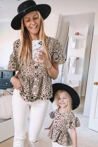 Leopard Button Front Ruffled Family Matching Mom's Tunic Top LC254478-20