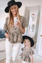 Leopard Button Front Ruffled Family Matching Kid Tunic Top TZ25250-20