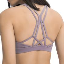 Purple Shockproof Push-up Yoga Vest Bra TQE110200-8