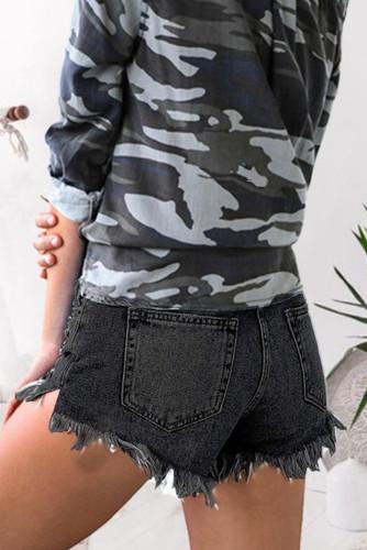 Black Raw Hem Distressed Washed Denim Shorts LC781438-2