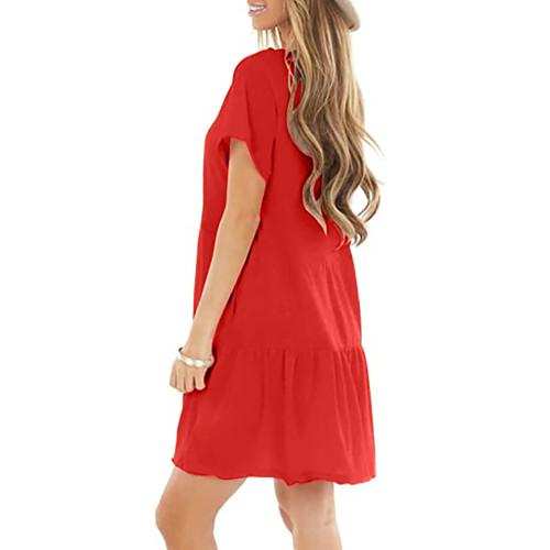 Red Cotton Blend Short Sleeve Mini Dress TQK310555-3