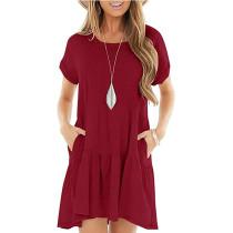 Wine Red Cotton Blend Short Sleeve Mini Dress TQK310555-23