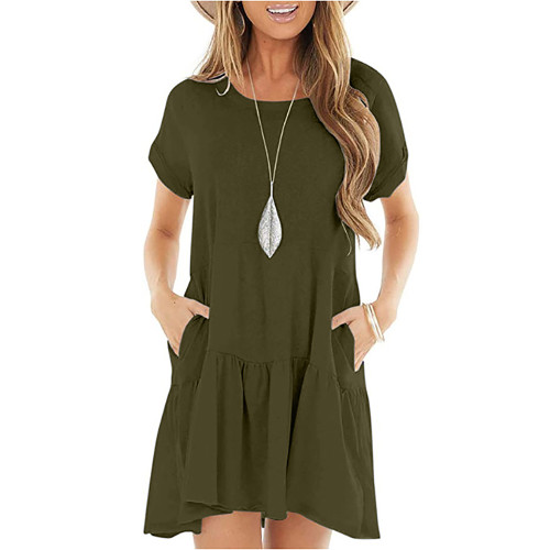 Army Green Cotton Blend Short Sleeve Mini Dress TQK310555-27