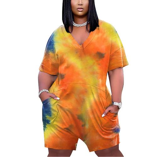 Orange Tie Dye Print V Neck Pullover Romper TQK550243-14
