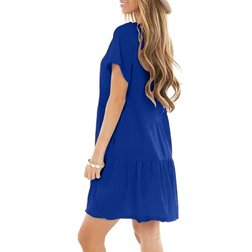 Blue Cotton Blend Short Sleeve Mini Dress TQK310555-5