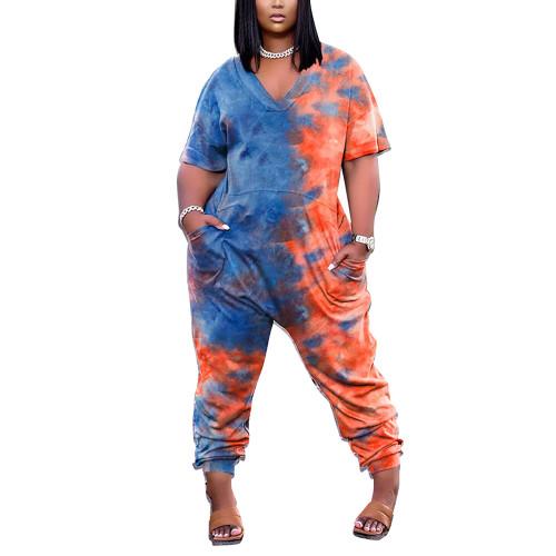 Blue Tie Dye Print V Neck Jumpsuit with Pockets TQK550245-5