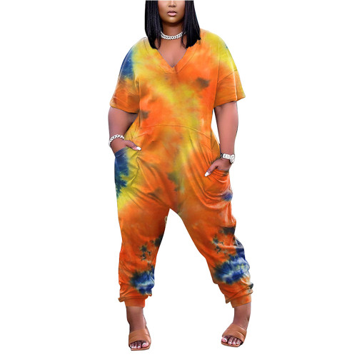 Orange Tie Dye Print V Neck Jumpsuit with Pockets TQK550245-14