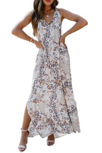 Romantic V-Neck Printed Sleeveless Slit Maxi Dress LC614784-1