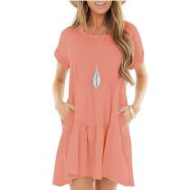 Pink Cotton Blend Short Sleeve Mini Dress TQK310555-10
