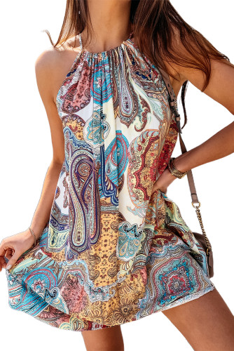 Halter Bohemian Print Sleeveless Shift Mini Dress LC225748-4