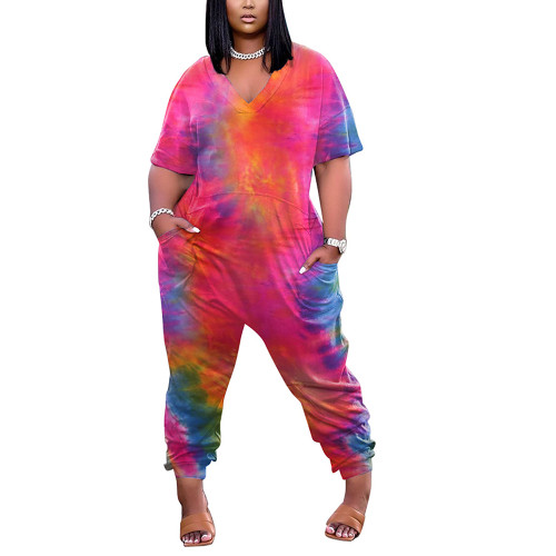 Red Tie Dye Print V Neck Jumpsuit with Pockets TQK550245-3