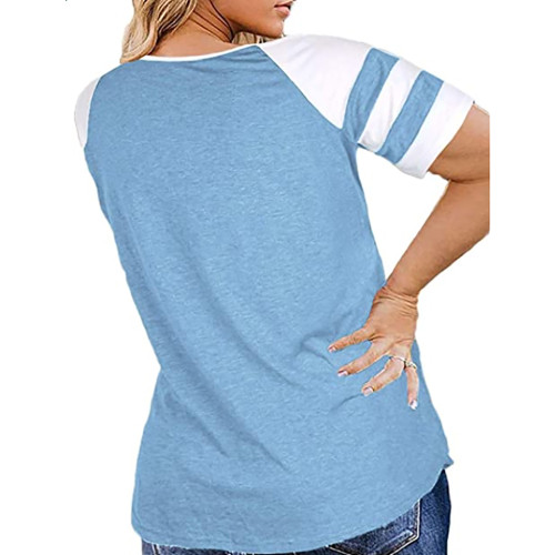 Light Blue Raglan Short Sleeve Plus Size Tops TQK210719-30