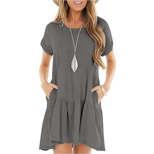 Gray Cotton Blend Short Sleeve Mini Dress TQK310555-11