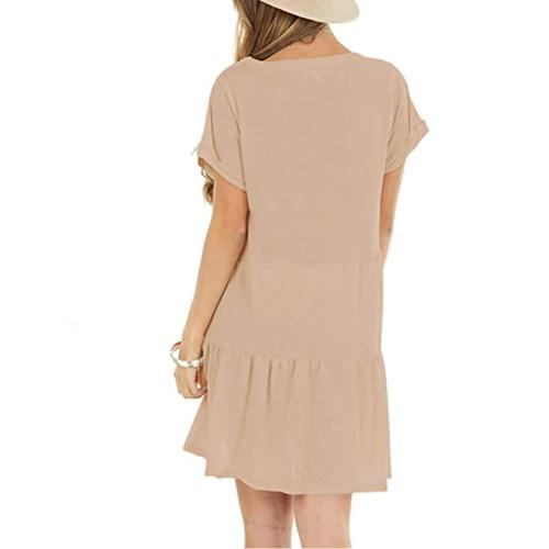 Apricot Cotton Blend Short Sleeve Mini Dress TQK310555-18
