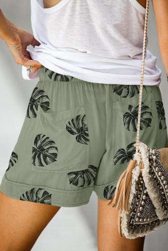 Green Floral Print Drawstring Casual Elastic Waist Pocketed Shorts LC77312-209