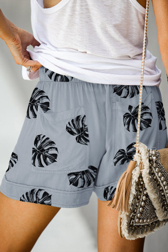 Floral Print Drawstring Casual Elastic Waist Pocketed Shorts LC77312-11