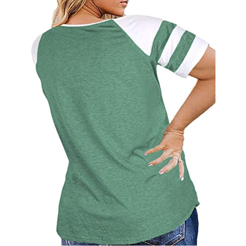 Light Green Raglan Short Sleeve Plus Size Tops TQK210719-28